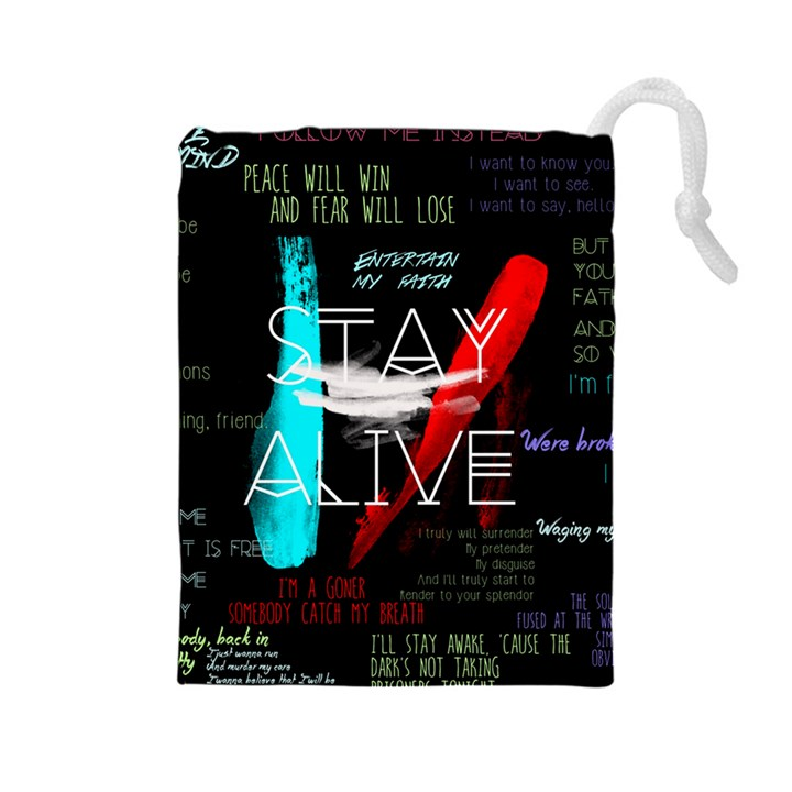 Twenty One Pilots Stay Alive Song Lyrics Quotes Drawstring Pouches (Large)