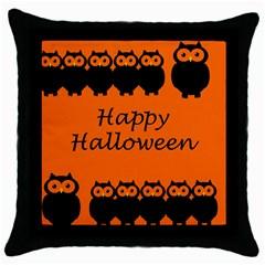 Happy Halloween   Owls Throw Pillow Case (black)