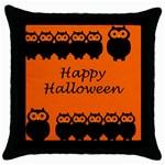 Happy Halloween - owls Throw Pillow Case (Black) Front