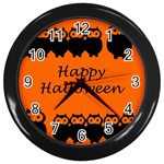 Happy Halloween - owls Wall Clocks (Black) Front