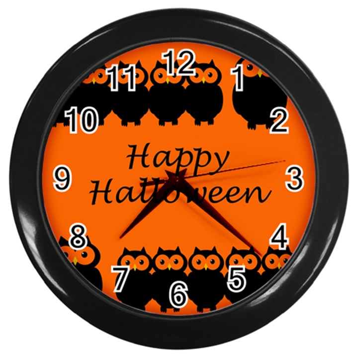 Happy Halloween - owls Wall Clocks (Black)