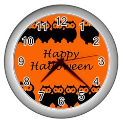 Happy Halloween - owls Wall Clocks (Silver)