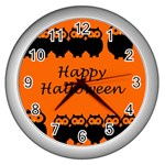 Happy Halloween - owls Wall Clocks (Silver)  Front