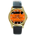 Happy Halloween - owls Round Gold Metal Watch Front