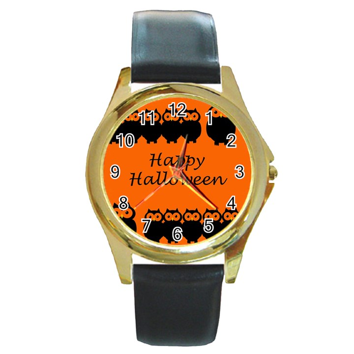 Happy Halloween - owls Round Gold Metal Watch