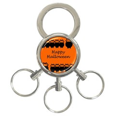 Happy Halloween   Owls 3 Ring Key Chains