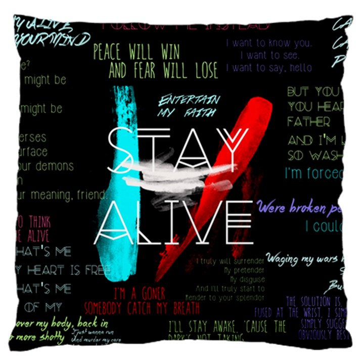 Twenty One Pilots Stay Alive Song Lyrics Quotes Large Flano Cushion Case (Two Sides)