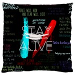 Twenty One Pilots Stay Alive Song Lyrics Quotes Large Flano Cushion Case (Two Sides) Back
