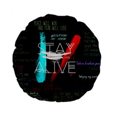 Twenty One Pilots Stay Alive Song Lyrics Quotes Standard 15  Premium Flano Round Cushions