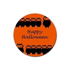 Happy Halloween - owls Rubber Round Coaster (4 pack)