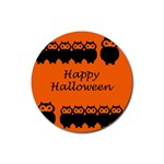 Happy Halloween - owls Rubber Round Coaster (4 pack)  Front