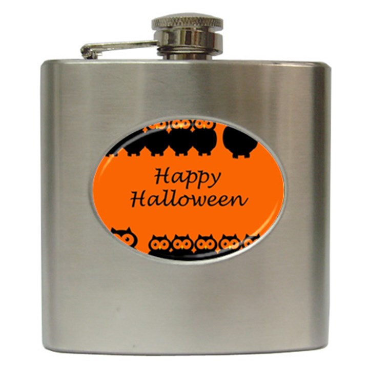 Happy Halloween - owls Hip Flask (6 oz)