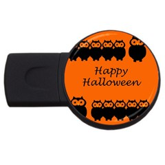 Happy Halloween   Owls Usb Flash Drive Round (2 Gb)