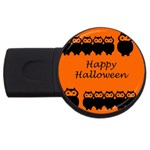 Happy Halloween - owls USB Flash Drive Round (2 GB)  Front