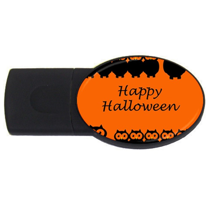 Happy Halloween - owls USB Flash Drive Oval (2 GB)