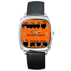 Happy Halloween   Owls Square Metal Watch