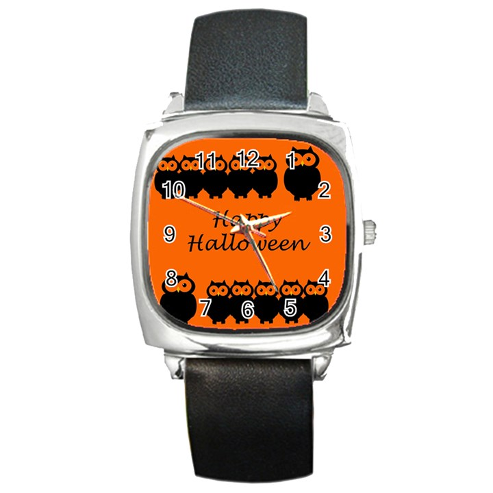 Happy Halloween - owls Square Metal Watch