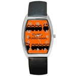 Happy Halloween - owls Barrel Style Metal Watch Front