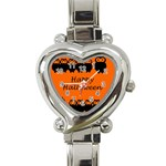 Happy Halloween - owls Heart Italian Charm Watch Front