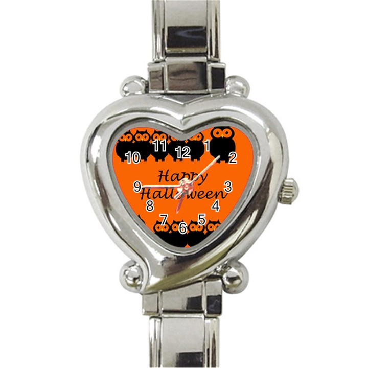 Happy Halloween - owls Heart Italian Charm Watch