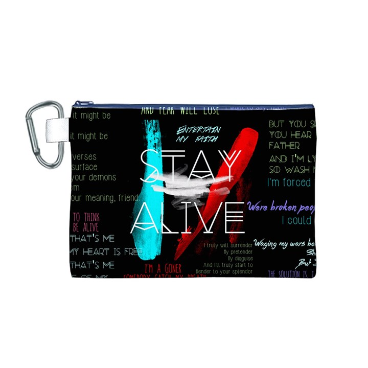 Twenty One Pilots Stay Alive Song Lyrics Quotes Canvas Cosmetic Bag (M)