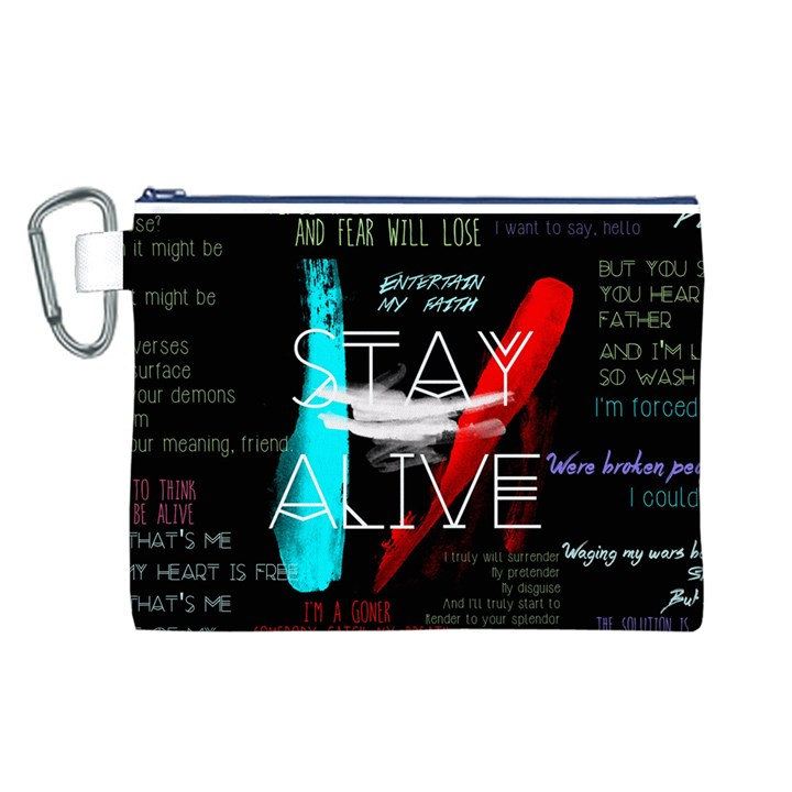 Twenty One Pilots Stay Alive Song Lyrics Quotes Canvas Cosmetic Bag (L)