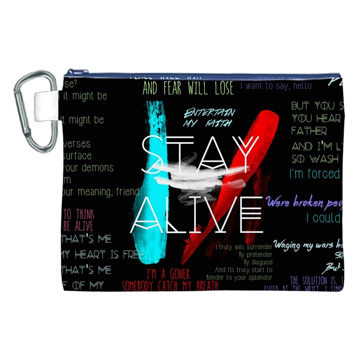 Twenty One Pilots Stay Alive Song Lyrics Quotes Canvas Cosmetic Bag (XXL)