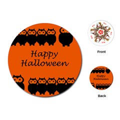 Happy Halloween   Owls Playing Cards (round)