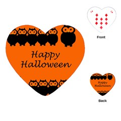 Happy Halloween   Owls Playing Cards (heart)