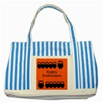 Happy Halloween - owls Striped Blue Tote Bag Front