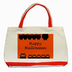 Happy Halloween   Owls Classic Tote Bag (red)