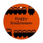 Happy Halloween - owls Round Ornament (Two Sides)  Back