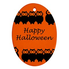 Happy Halloween - owls Oval Ornament (Two Sides)