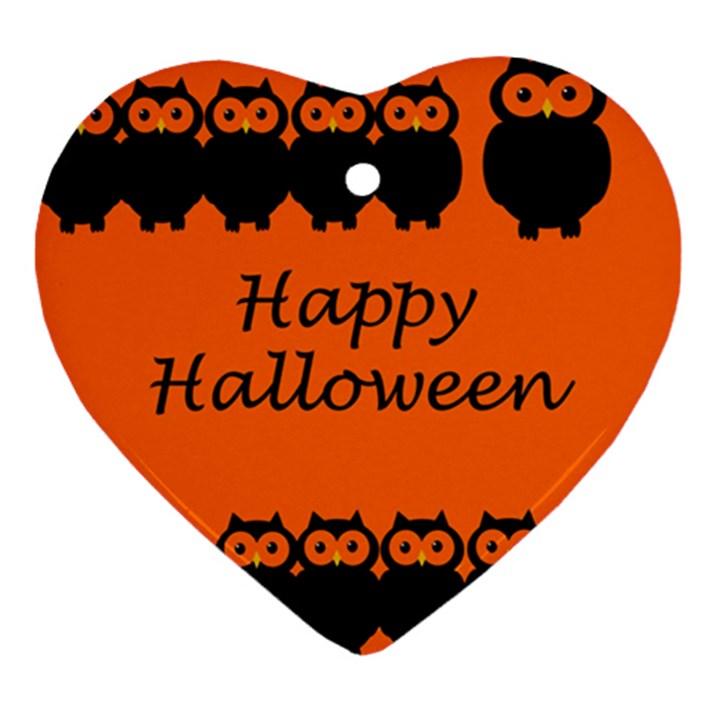 Happy Halloween - owls Heart Ornament (2 Sides)