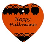 Happy Halloween - owls Heart Ornament (2 Sides) Back