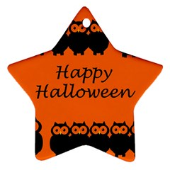 Happy Halloween - owls Star Ornament (Two Sides)
