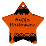 Happy Halloween - owls Star Ornament (Two Sides)  Back