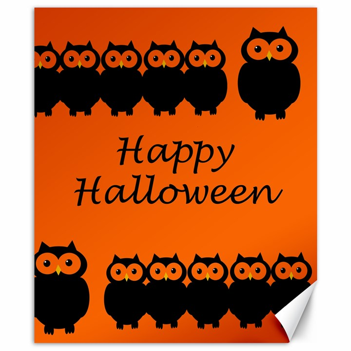 Happy Halloween - owls Canvas 8  x 10