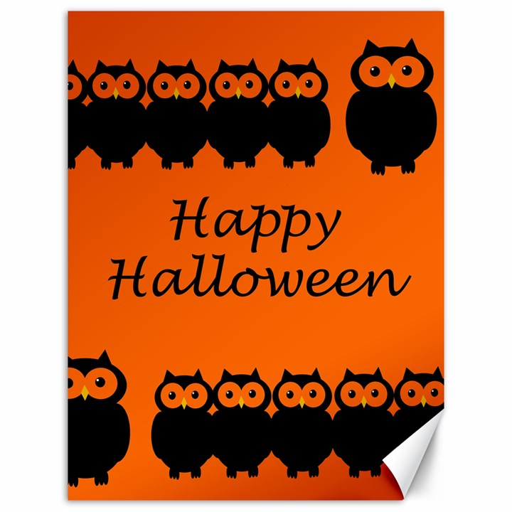 Happy Halloween - owls Canvas 12  x 16