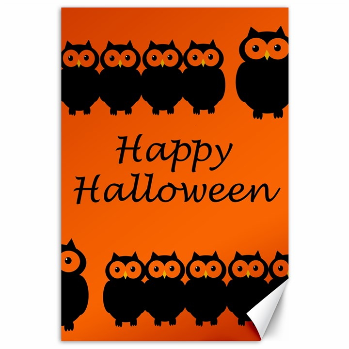 Happy Halloween - owls Canvas 12  x 18