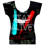 Twenty One Pilots Stay Alive Song Lyrics Quotes Women s V-Neck Cap Sleeve Top Front