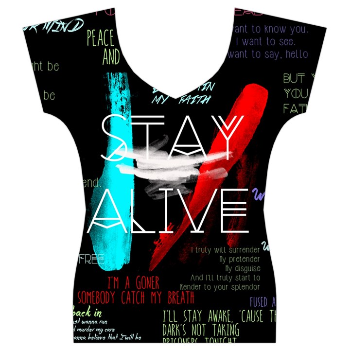 Twenty One Pilots Stay Alive Song Lyrics Quotes Women s V-Neck Cap Sleeve Top