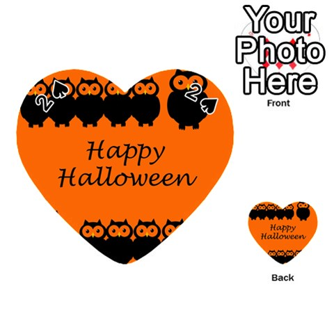 Happy Halloween - owls Playing Cards 54 (Heart)