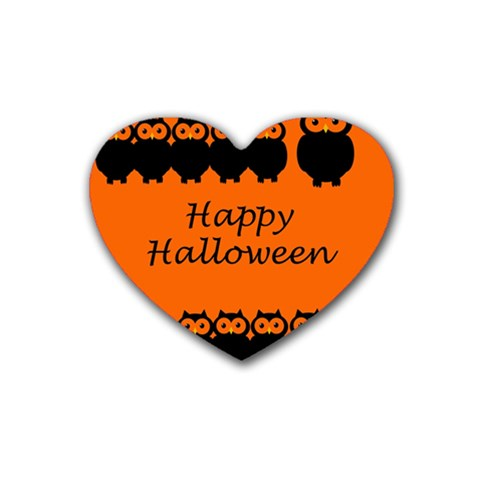 Happy Halloween - owls Rubber Coaster (Heart)