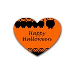 Happy Halloween - owls Rubber Coaster (Heart)  Front