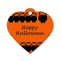 Happy Halloween   Owls Dog Tag Heart (one Side)