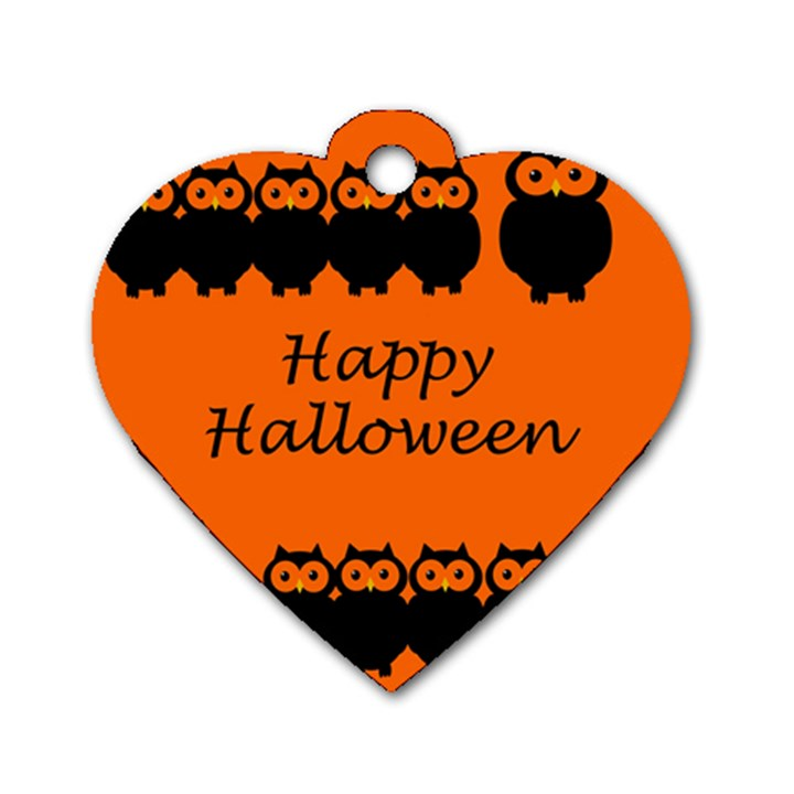 Happy Halloween - owls Dog Tag Heart (One Side)