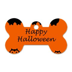Happy Halloween   Owls Dog Tag Bone (two Sides)