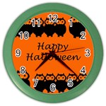 Happy Halloween - owls Color Wall Clocks Front