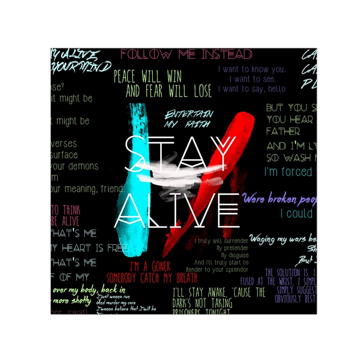 Twenty One Pilots Stay Alive Song Lyrics Quotes Small Satin Scarf (Square)